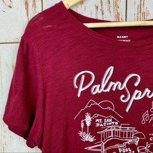 52d265f77 Old Navy Tops | Palm Springs Coachella Burnout Graphic Tee Maroon ...